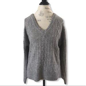 BRAVE SOUL Light Grey Wide Sleeve V-neck Sweater
